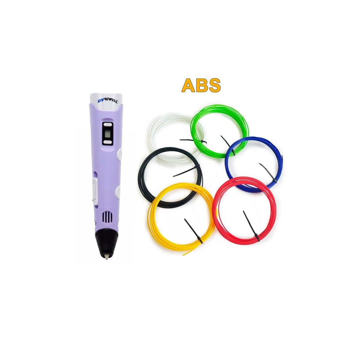 3D-Ручка MyRiwell RP-100B + 30 м ABS (6 цветов). Набор START.
