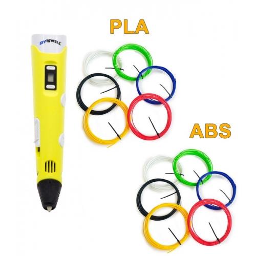 3D-Ручка MyRiwell RP-100B + 60 м (PLA + ABS по 6 кольорів). Набір VIP