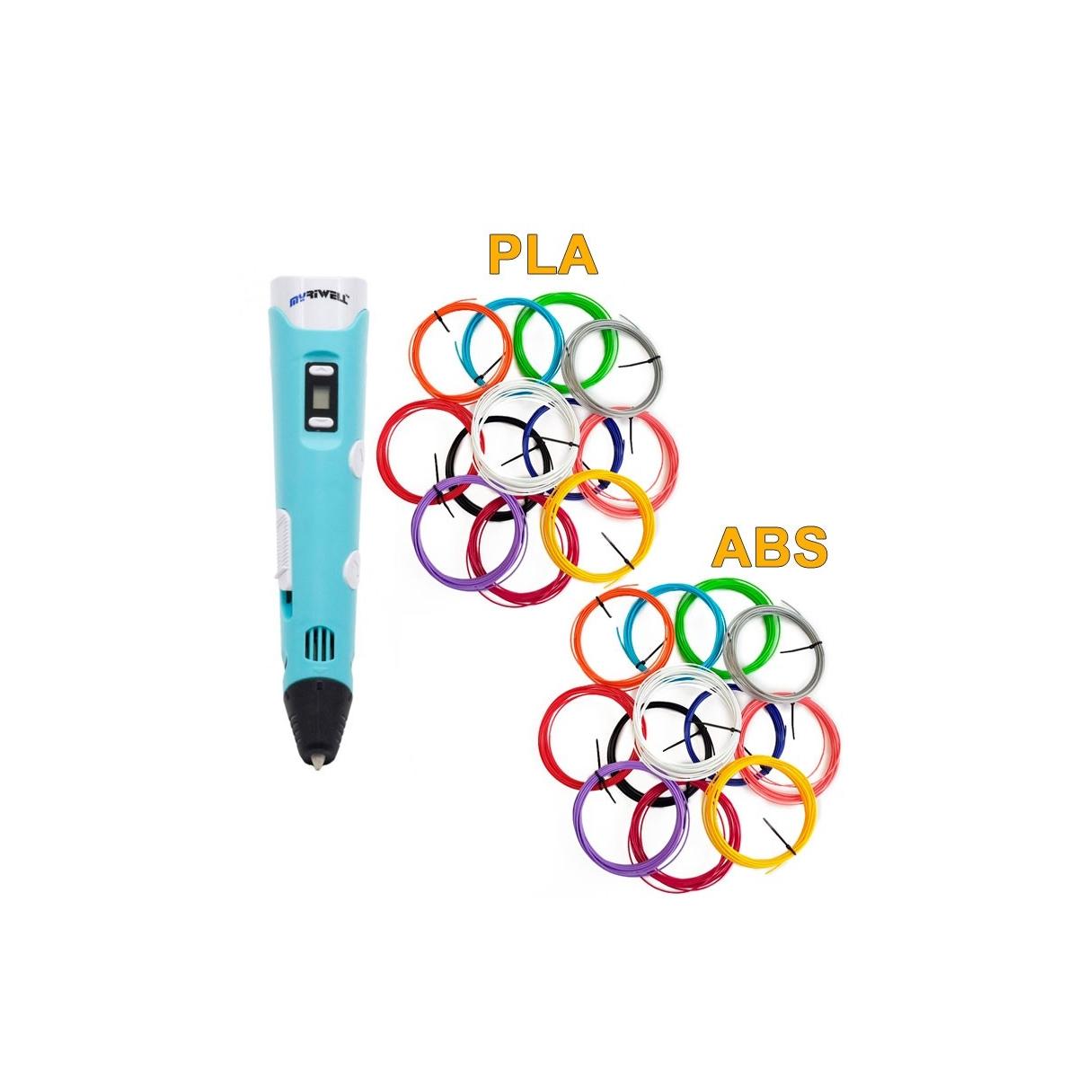 3D-Ручка MyRiwell RP-100B + 120 м (PLA + ABS по 12 кольорів). Набір MEGA