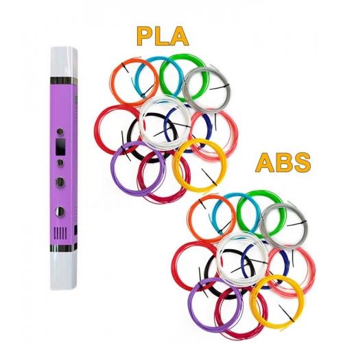 3D-Ручка MyRiwell RP-100C + 120 м (PLA + ABS по 12 цветов). Набор MEGA