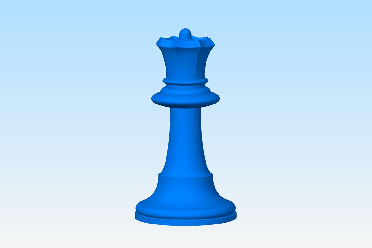 Модель шахматного ферзя для просчета цены 3D печати